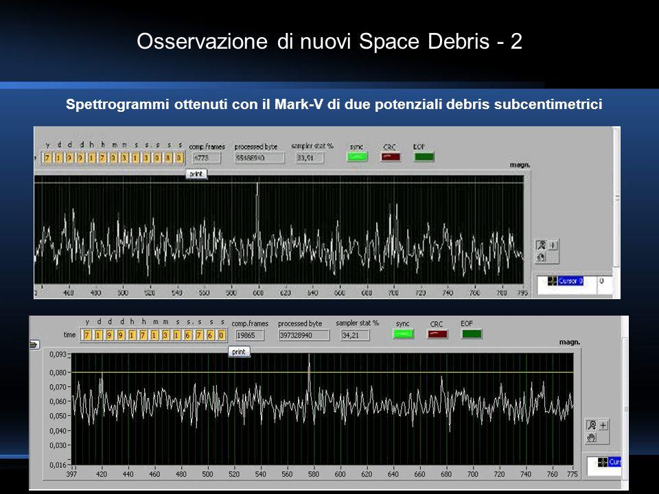 Osservazione di nuovi Space Debris - 2