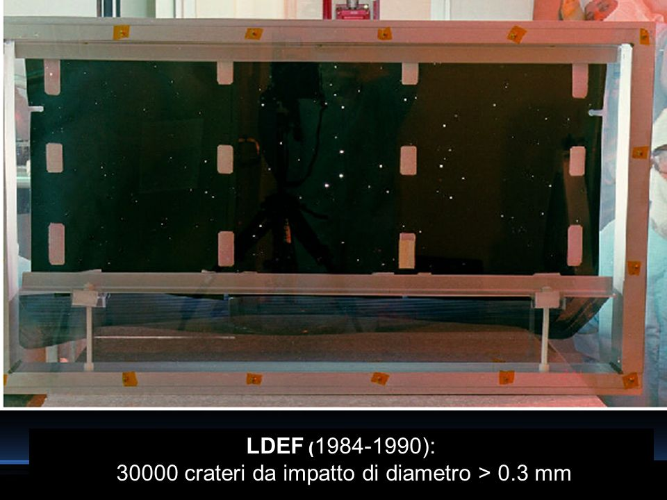 LDEF (1984-1990): 30000 crateri da impatto di diametro > 0.3 mm