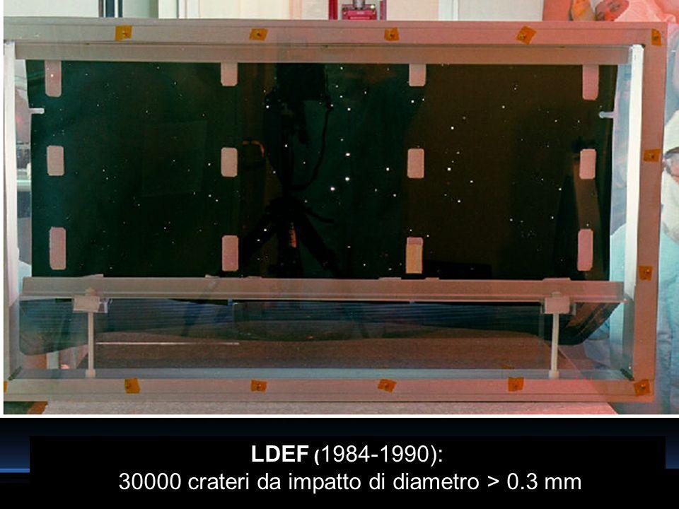 LDEF (1984-1990): 30000 crateri da impatto di diametro > 0.3 mm