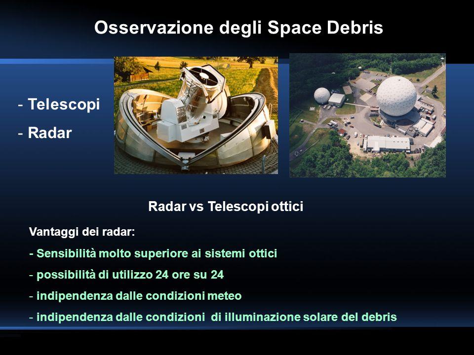 Osservazione degli Space Debris Radar vs Telescopi ottici