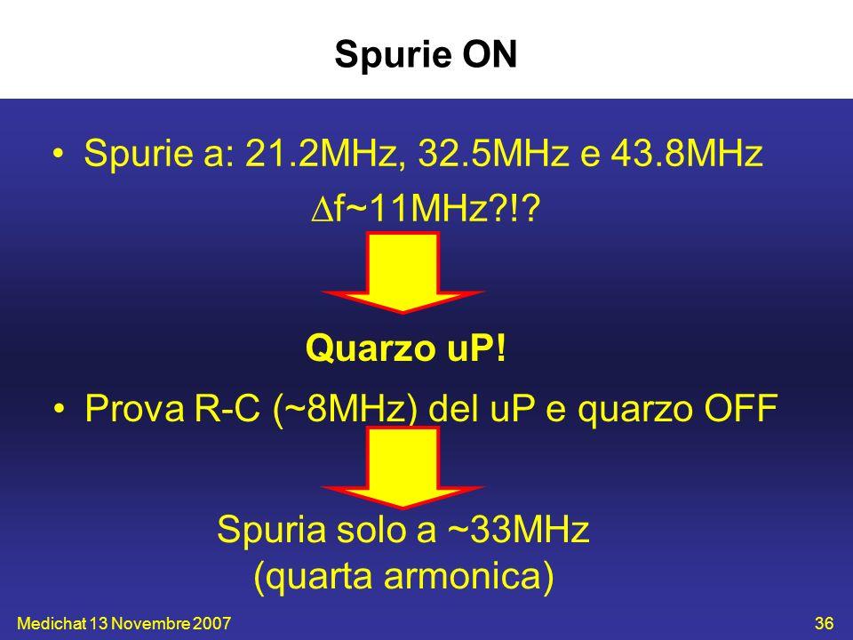 Spuria solo a ~33MHz (quarta armonica)