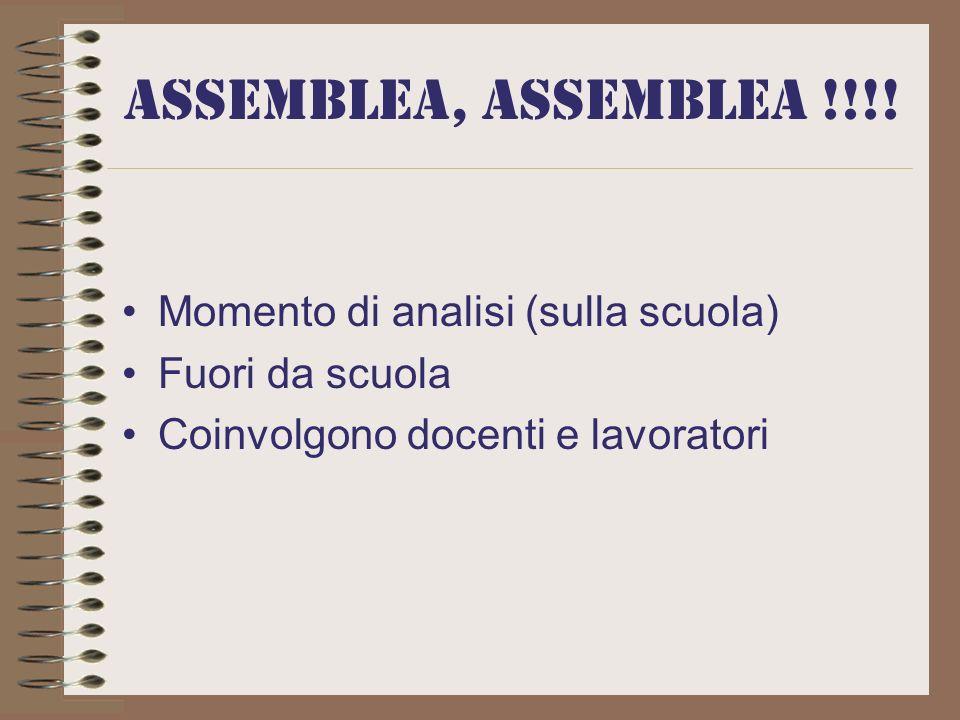 ASSEMBLEA, ASSEMBLEA !!!! Momento di analisi (sulla scuola)