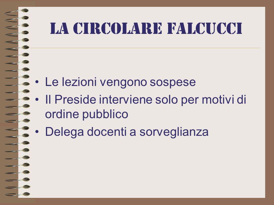 La circolare Falcucci Le lezioni vengono sospese