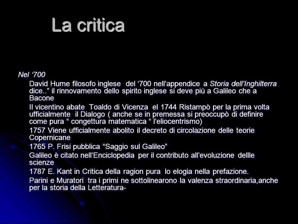 La critica Nel '700.