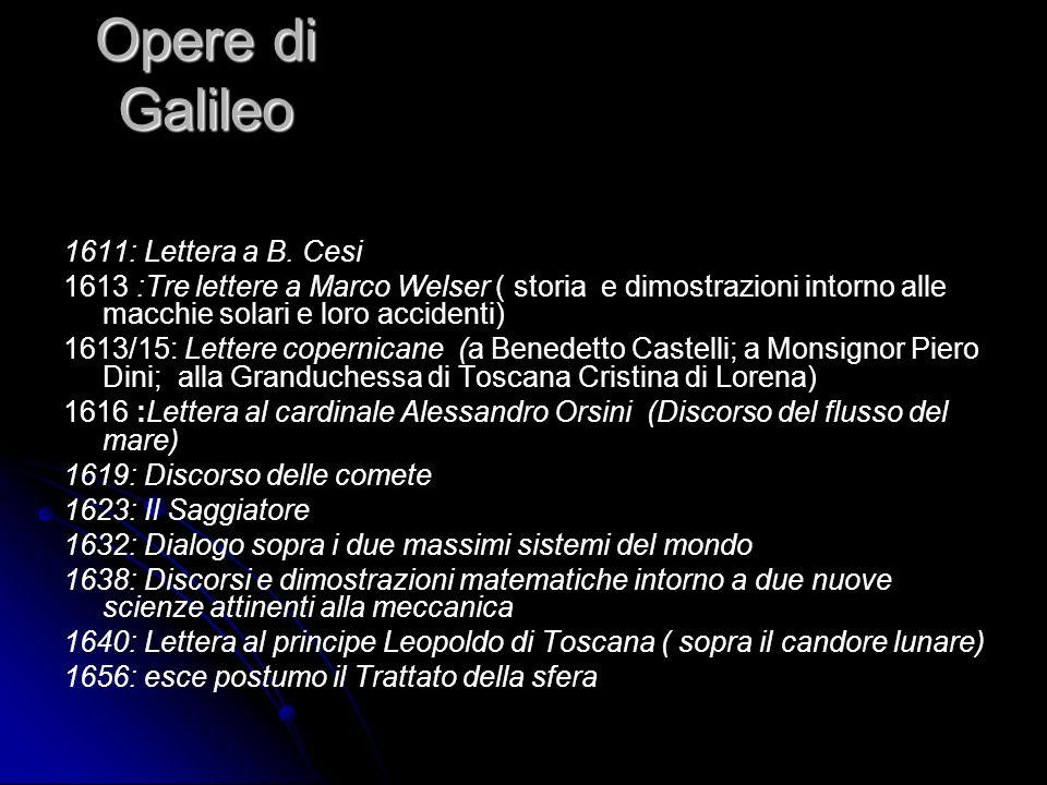 Opere di Galileo 1611: Lettera a B. Cesi