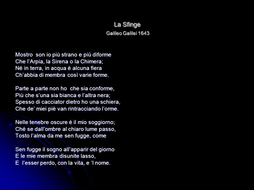 La Sfinge Galileo Galilei 1643