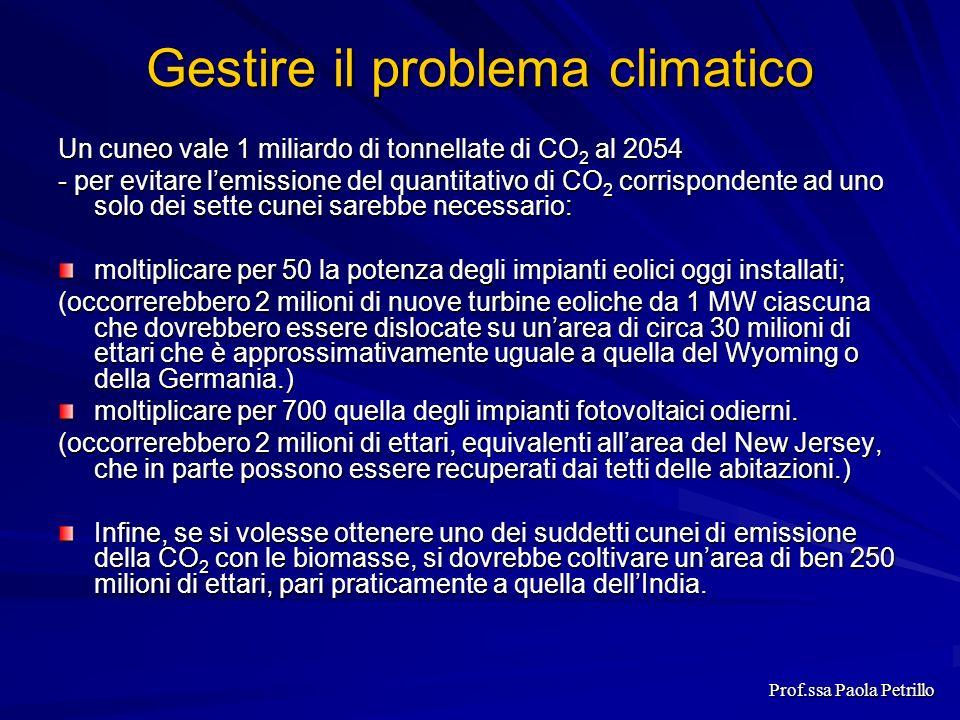 Gestire il problema climatico