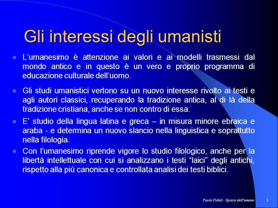 Gli interessi degli umanisti
