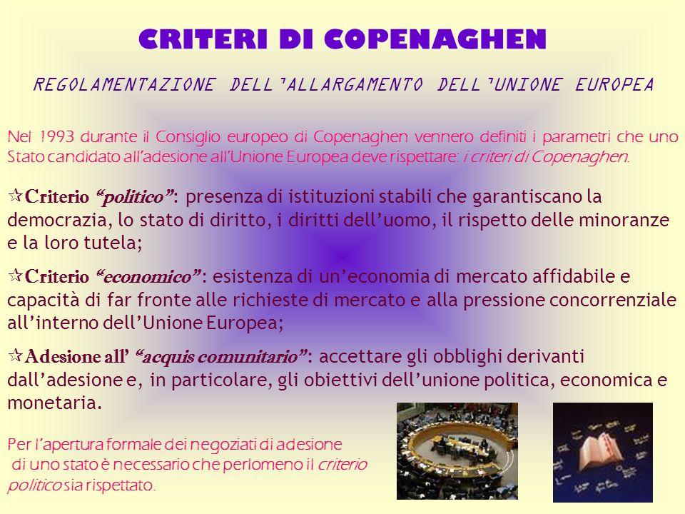 REGOLAMENTAZIONE DELL'ALLARGAMENTO DELL'UNIONE EUROPEA