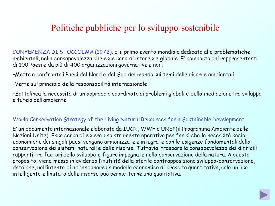 Politiche pubbliche per lo sviluppo sostenibile