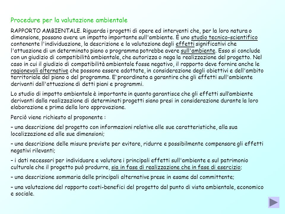 Procedure per la valutazione ambientale