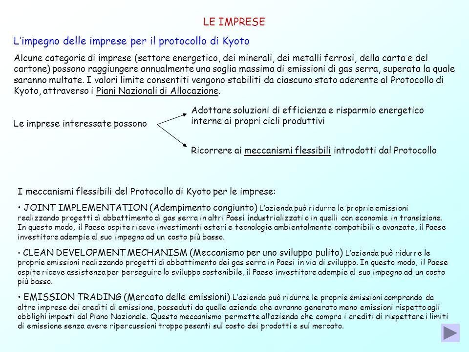 L'impegno delle imprese per il protocollo di Kyoto