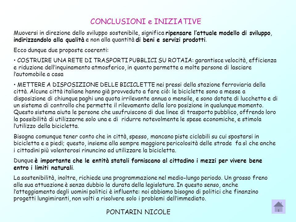 CONCLUSIONI e INIZIATIVE