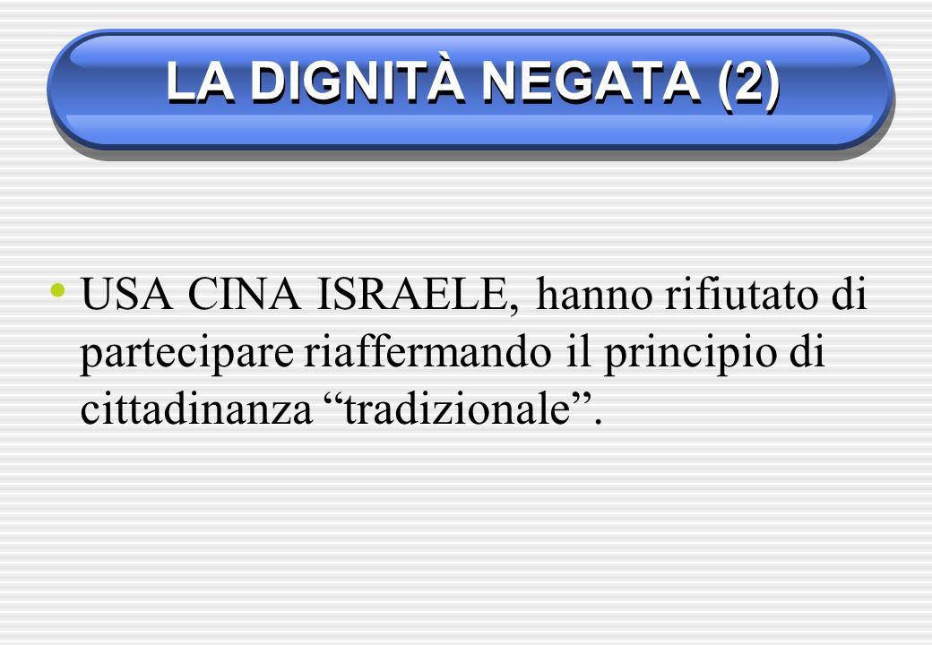 LA DIGNITÀ NEGATA (2) USA CINA ISRAELE, hanno rifiutato di partecipare riaffermando il principio di cittadinanza tradizionale .