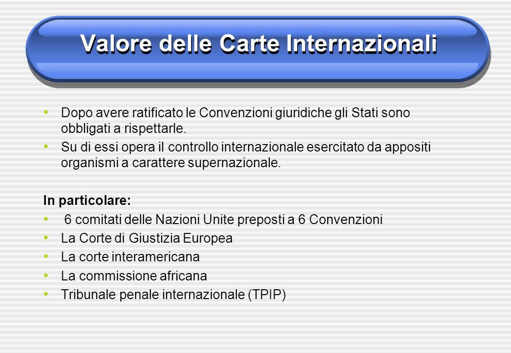 Valore delle Carte Internazionali