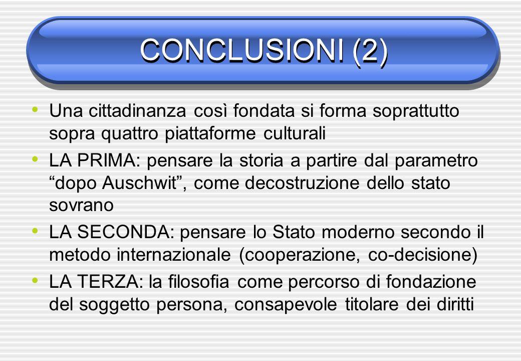 CONCLUSIONI (2) Una cittadinanza così fondata si forma soprattutto sopra quattro piattaforme culturali.