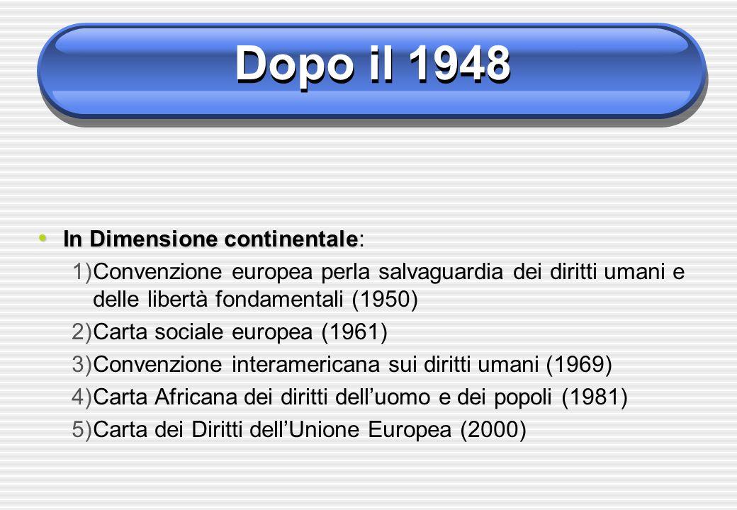 Dopo il 1948 In Dimensione continentale:
