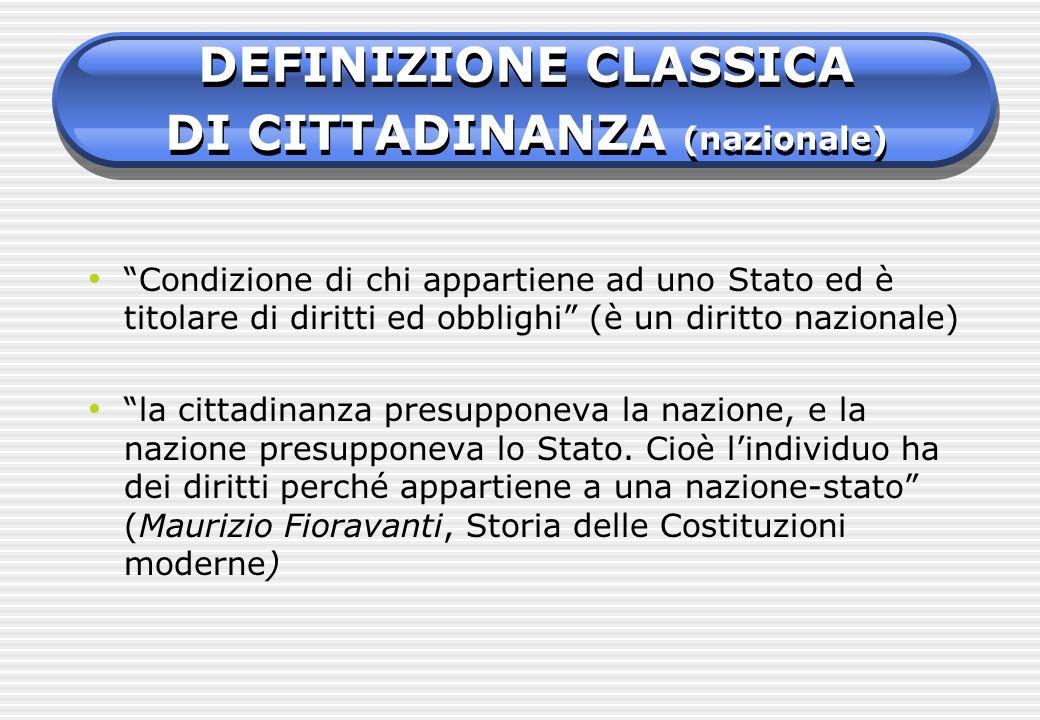 DEFINIZIONE CLASSICA DI CITTADINANZA (nazionale)