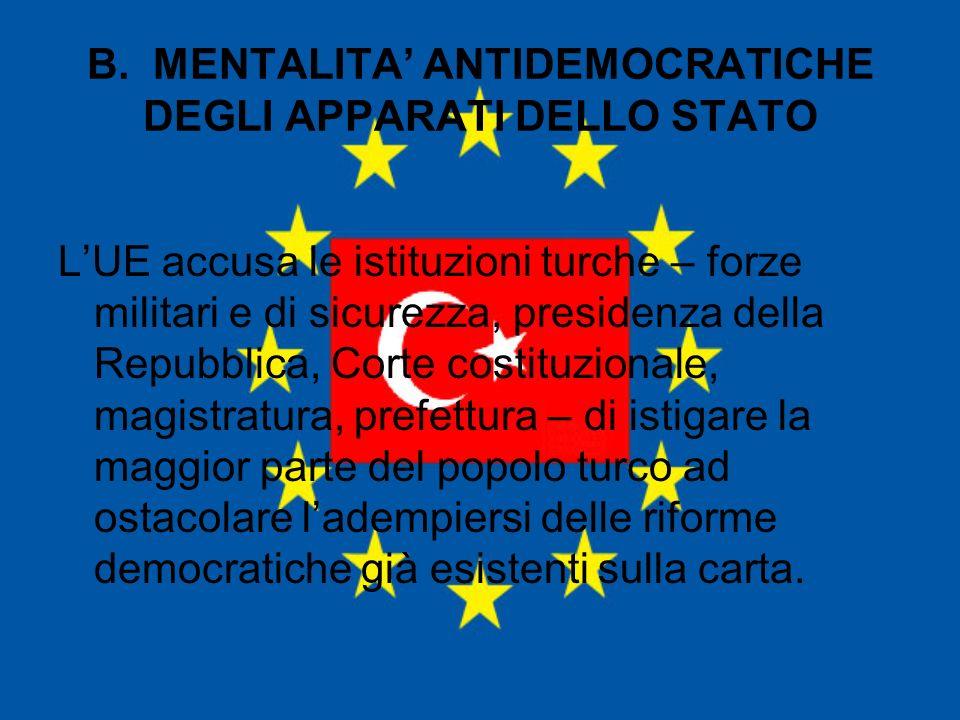 B. MENTALITA' ANTIDEMOCRATICHE DEGLI APPARATI DELLO STATO