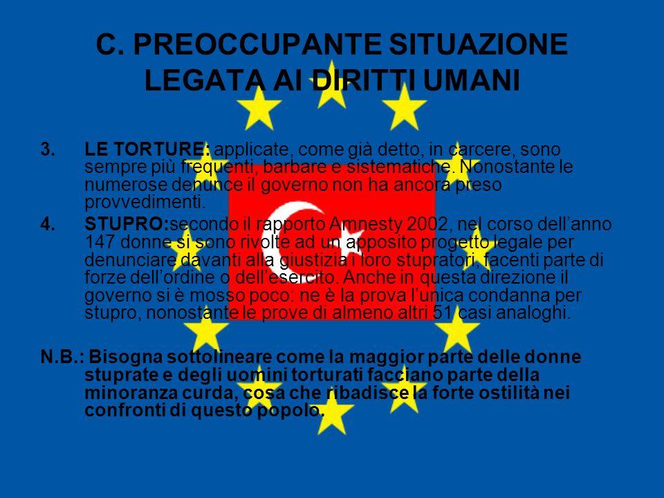 C. PREOCCUPANTE SITUAZIONE LEGATA AI DIRITTI UMANI