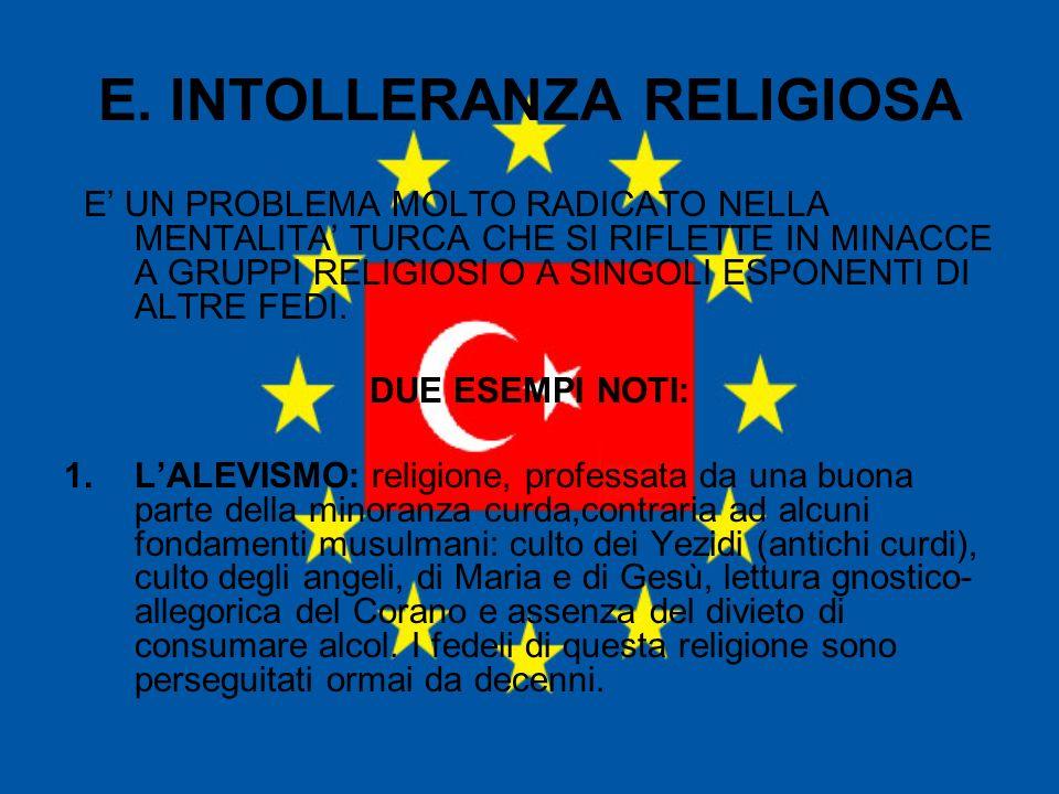 E. INTOLLERANZA RELIGIOSA