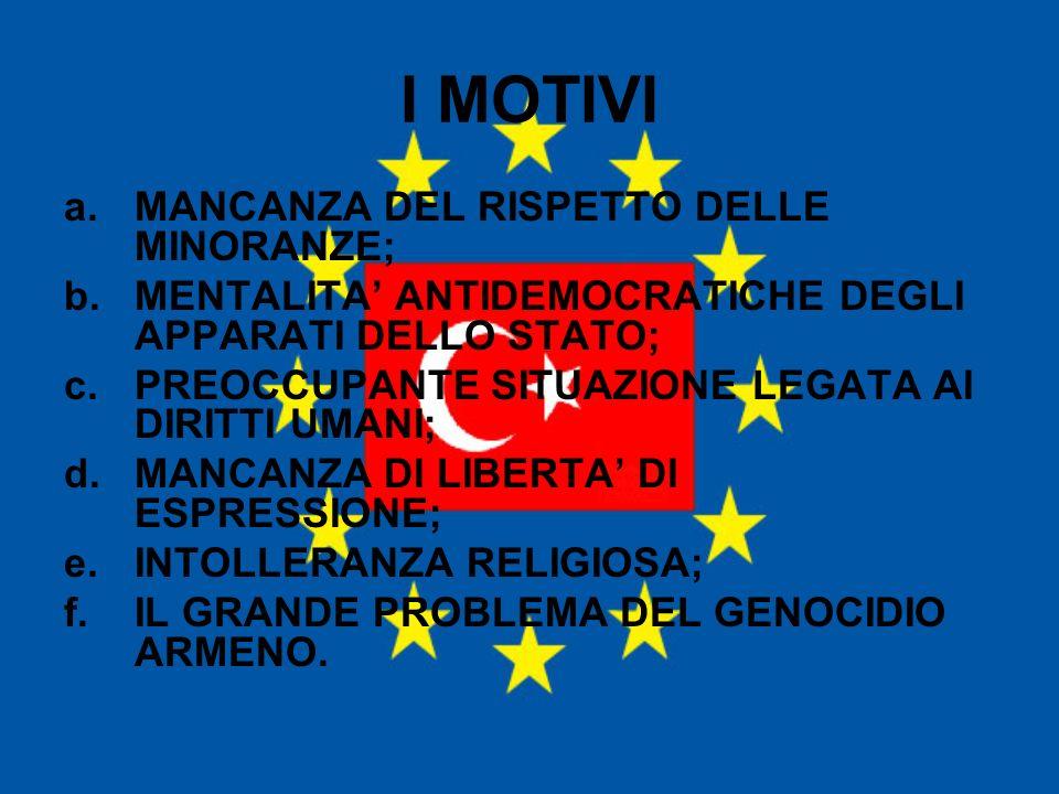 I MOTIVI MANCANZA DEL RISPETTO DELLE MINORANZE;