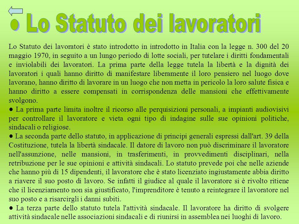 ● Lo Statuto dei lavoratori