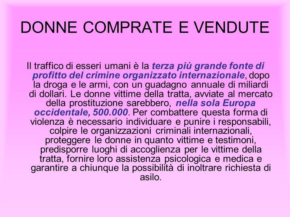 DONNE COMPRATE E VENDUTE