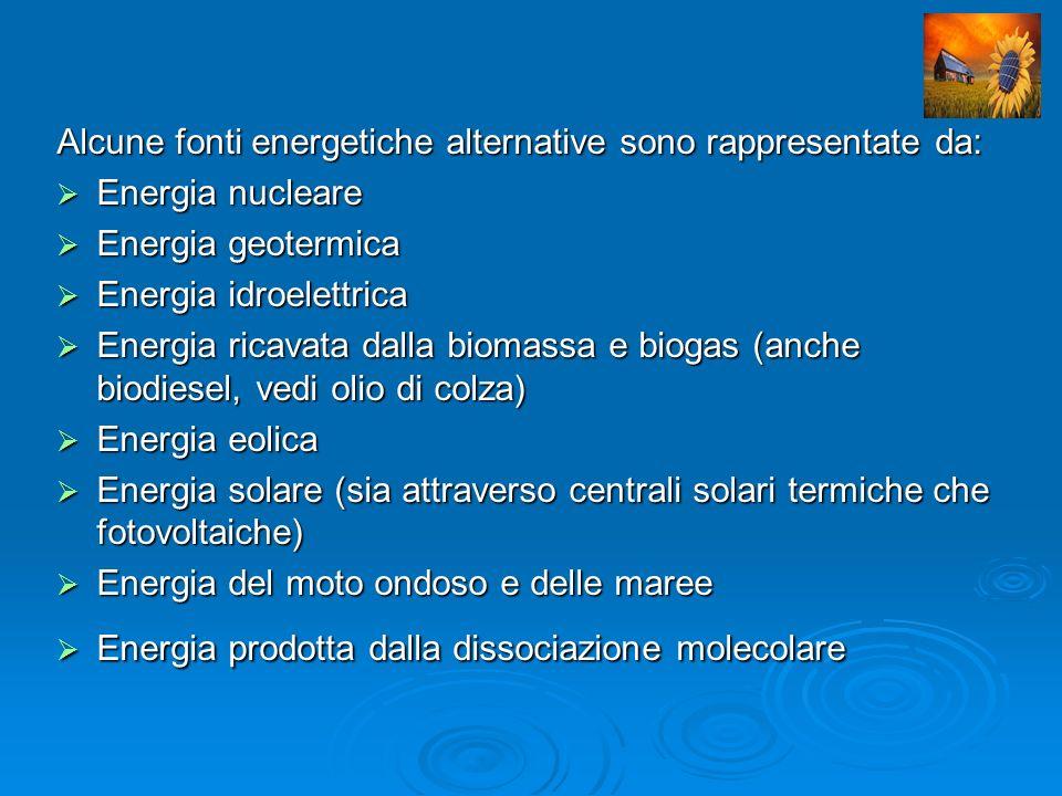 Alcune fonti energetiche alternative sono rappresentate da: