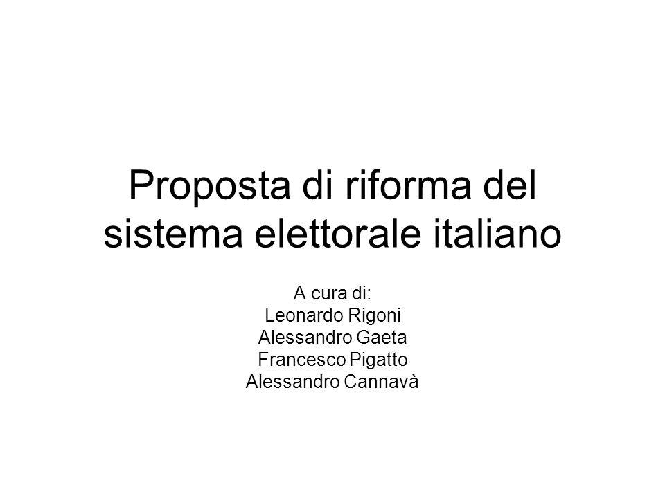 Proposta di riforma del sistema elettorale italiano