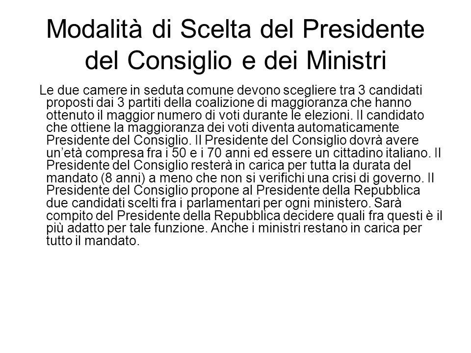 Modalità di Scelta del Presidente del Consiglio e dei Ministri