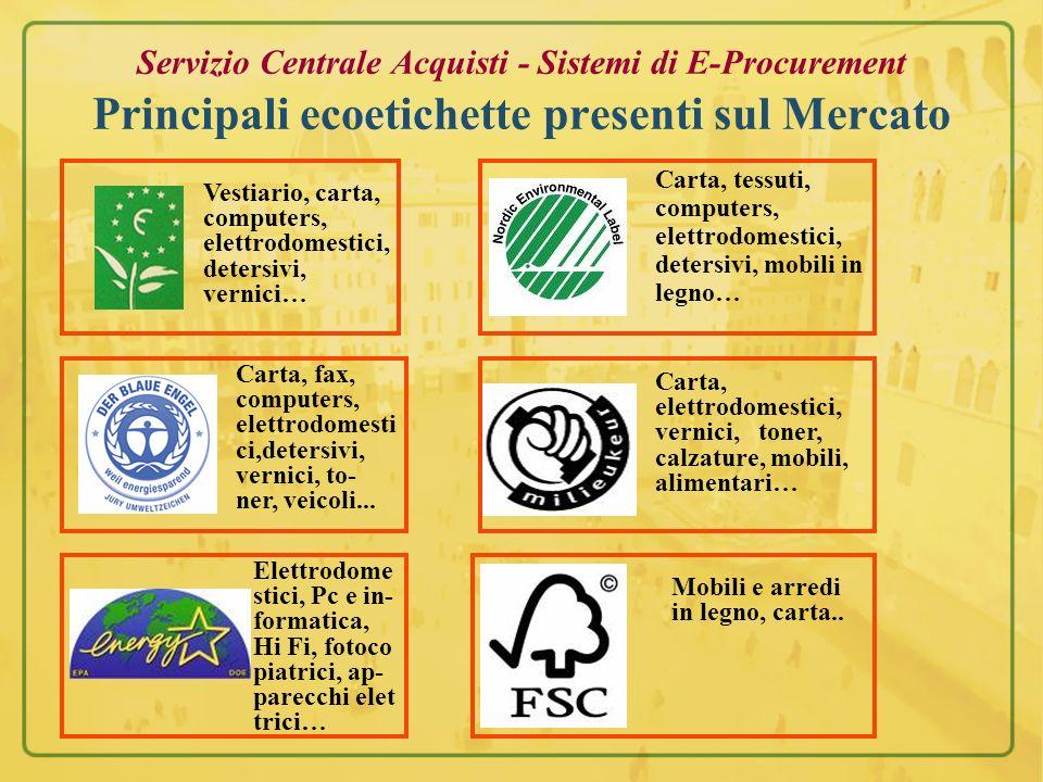 Servizio Centrale Acquisti - Sistemi di E-Procurement Principali ecoetichette presenti sul Mercato
