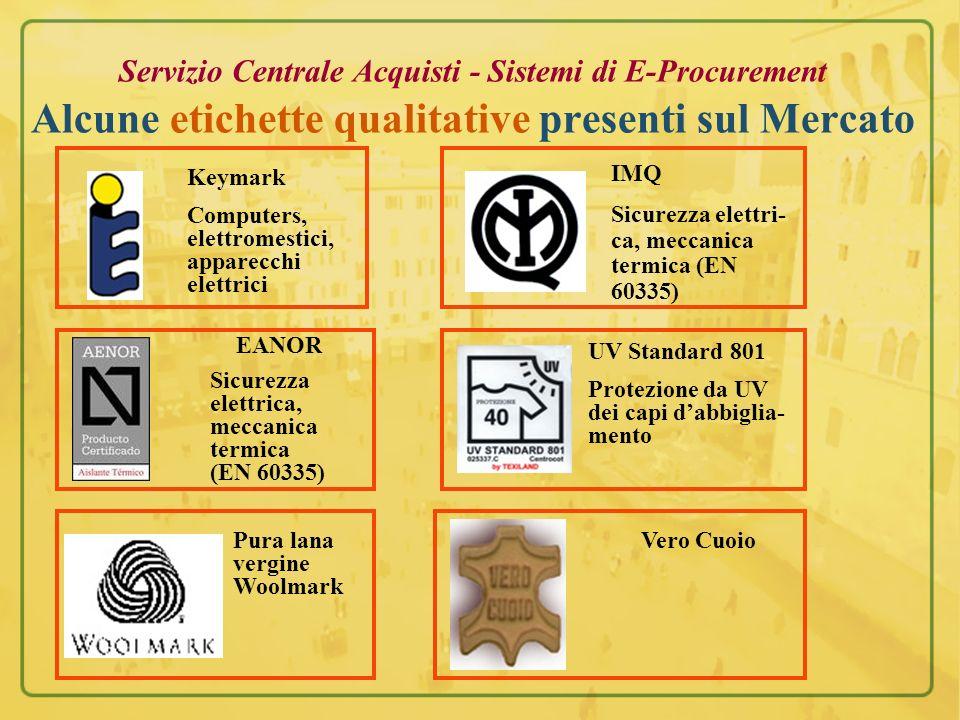 Servizio Centrale Acquisti - Sistemi di E-Procurement Alcune etichette qualitative presenti sul Mercato