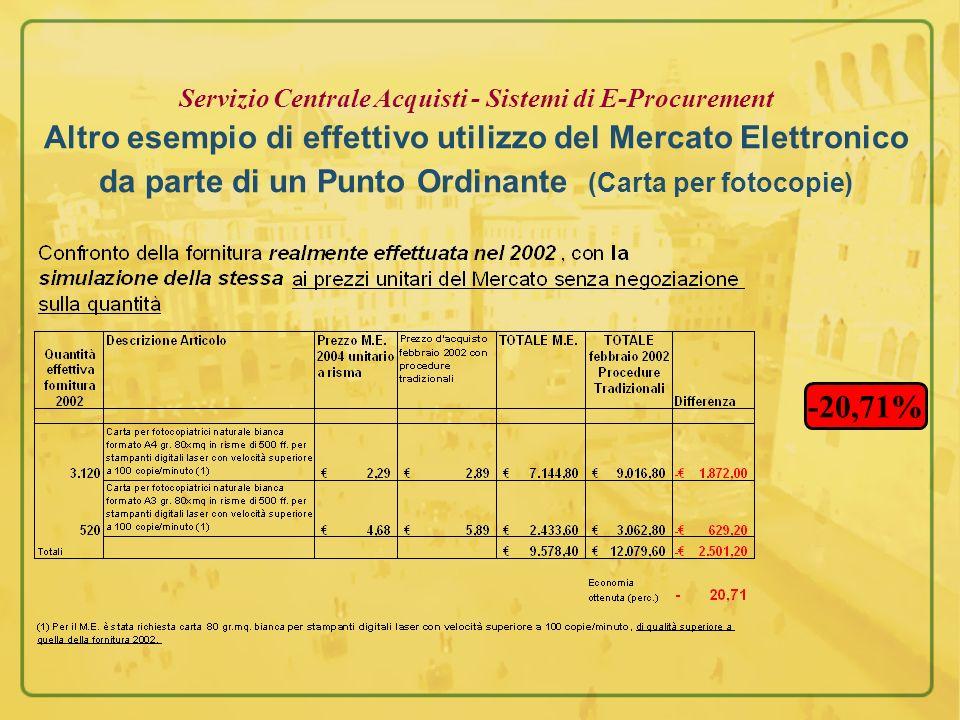 Servizio Centrale Acquisti - Sistemi di E-Procurement Altro esempio di effettivo utilizzo del Mercato Elettronico da parte di un Punto Ordinante (Carta per fotocopie)