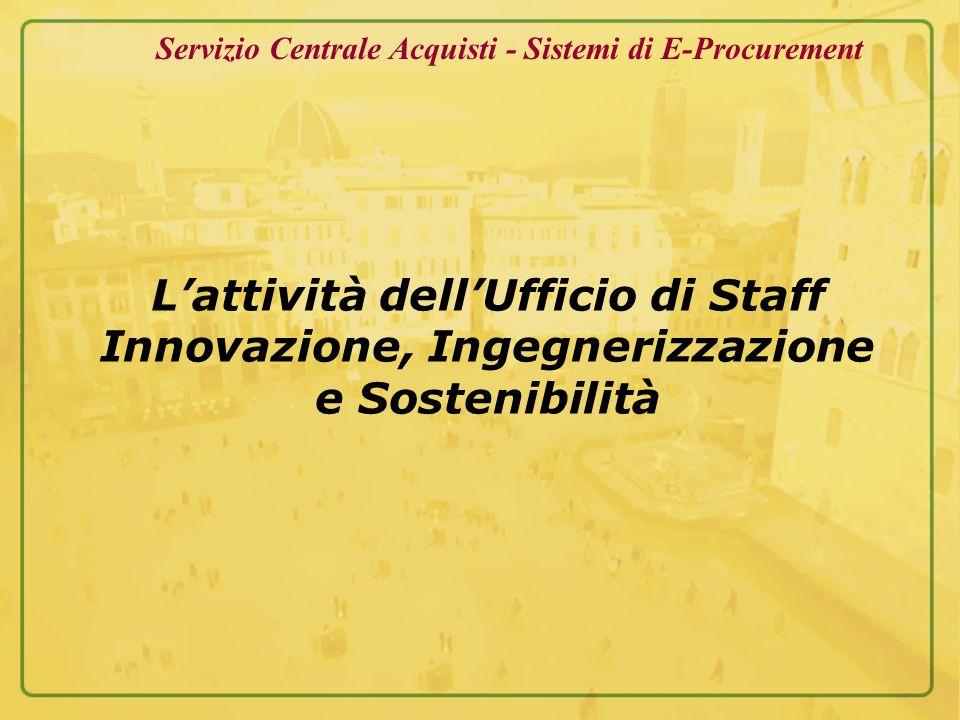 L'attività dell'Ufficio di Staff Innovazione, Ingegnerizzazione