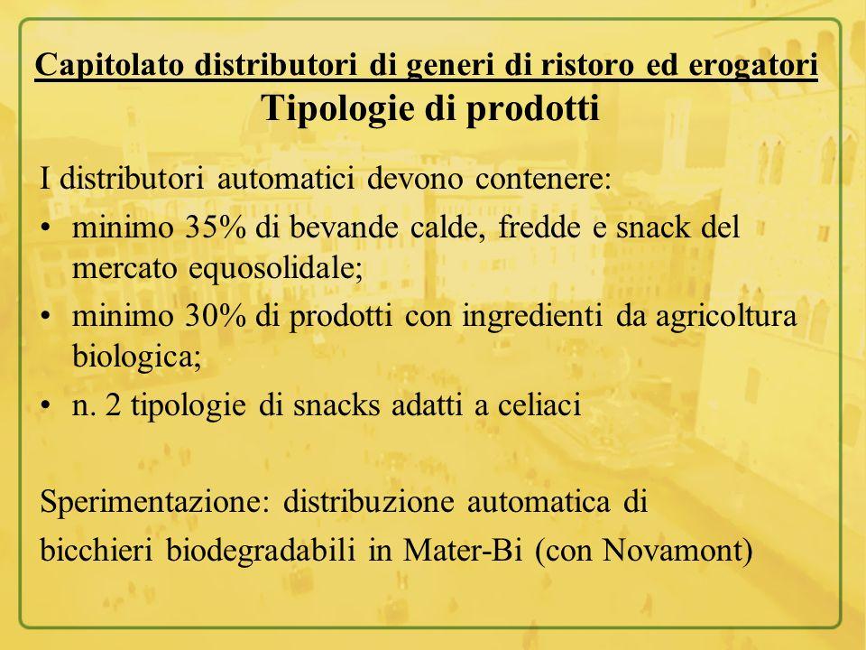 Capitolato distributori di generi di ristoro ed erogatori Tipologie di prodotti