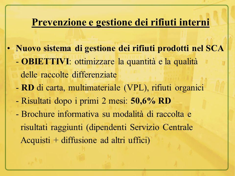 Prevenzione e gestione dei rifiuti interni