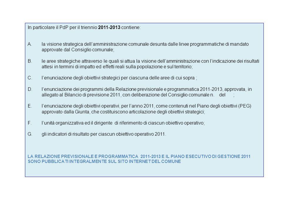 In particolare il PdP per il triennio 2011-2013 contiene: