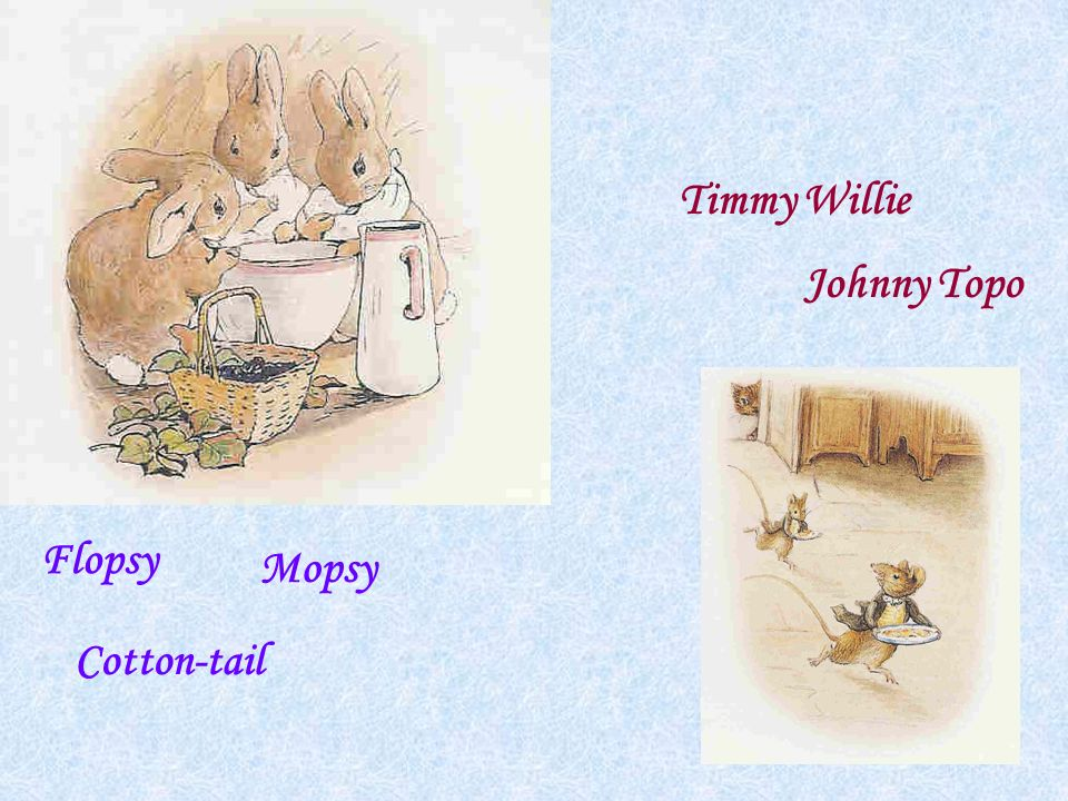 Timmy Willie Johnny Topo Flopsy Mopsy Cotton-tail