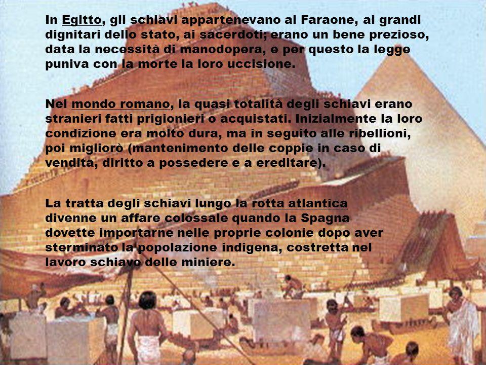 In Egitto, gli schiavi appartenevano al Faraone, ai grandi