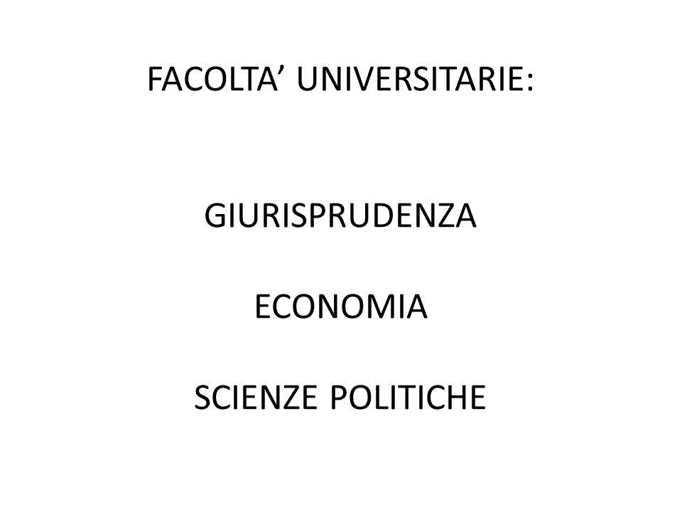 FACOLTA' UNIVERSITARIE: GIURISPRUDENZA ECONOMIA SCIENZE POLITICHE