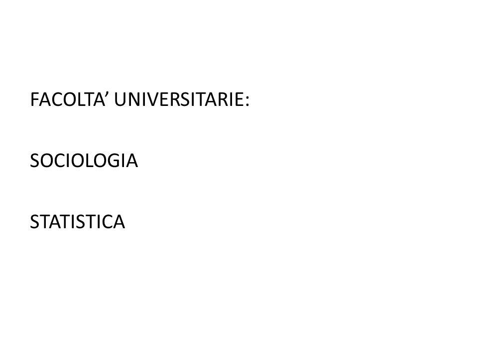 FACOLTA' UNIVERSITARIE: SOCIOLOGIA STATISTICA