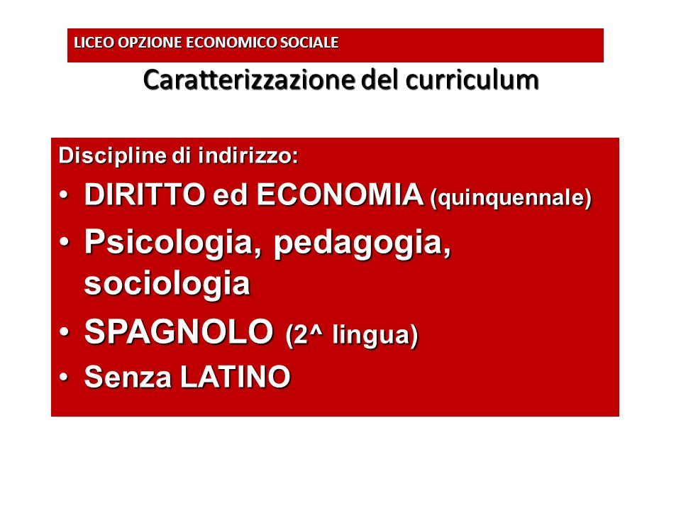 Caratterizzazione del curriculum