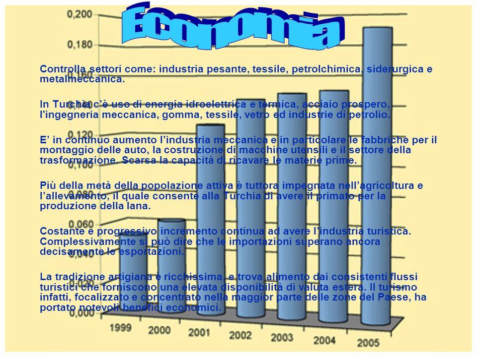 Economia Controlla settori come: industria pesante, tessile, petrolchimica, siderurgica e metalmeccanica.