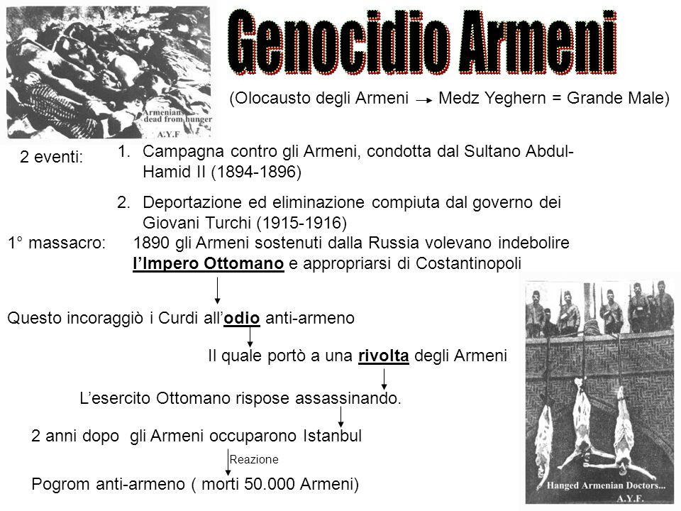 Genocidio Armeni (Olocausto degli Armeni Medz Yeghern = Grande Male)