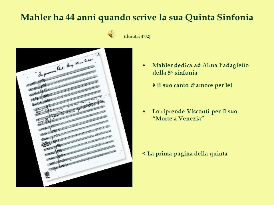 Mahler ha 44 anni quando scrive la sua Quinta Sinfonia (durata: 4 02)