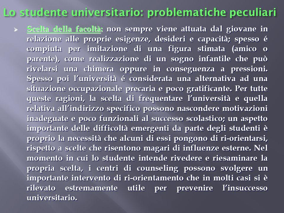 Lo studente universitario: problematiche peculiari