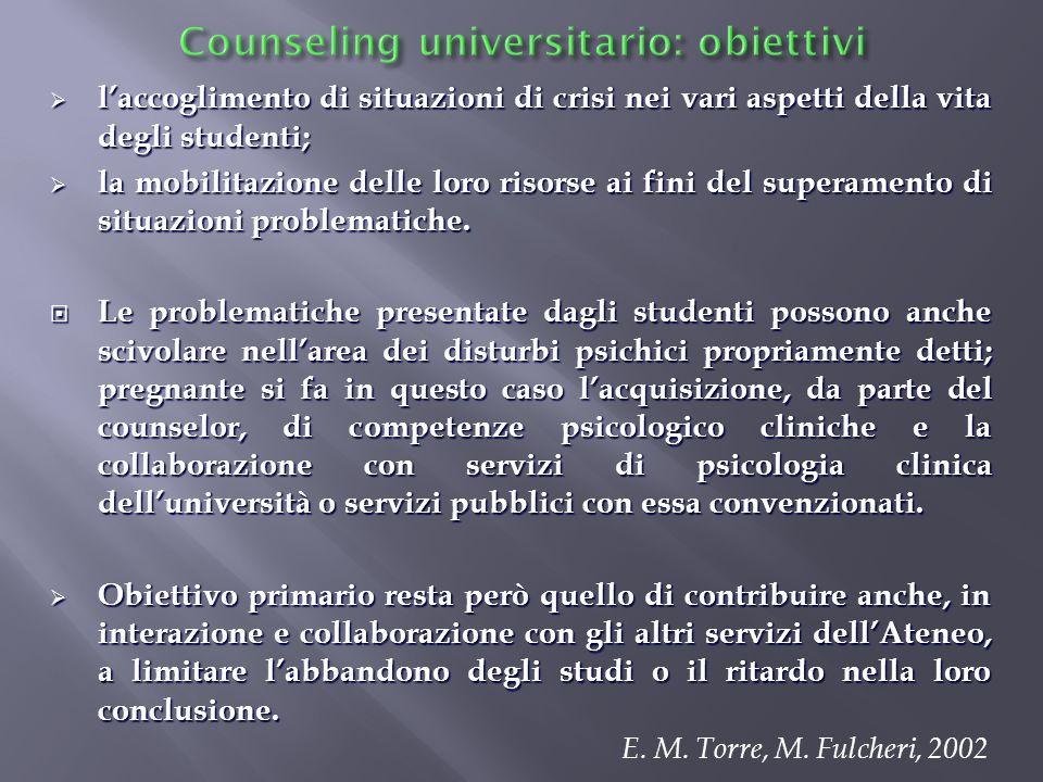 Counseling universitario: obiettivi