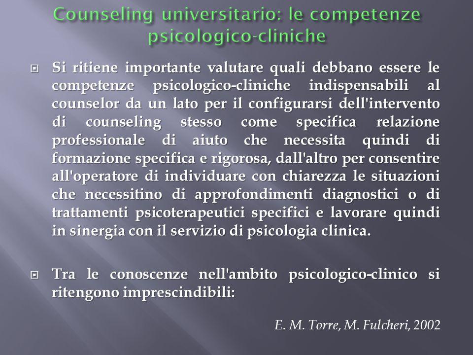 Counseling universitario: le competenze psicologico-cliniche