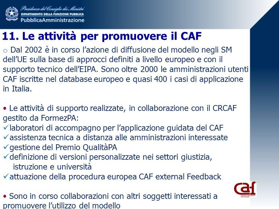 11. Le attività per promuovere il CAF